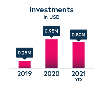 Investments in USD from 2019 - 2021