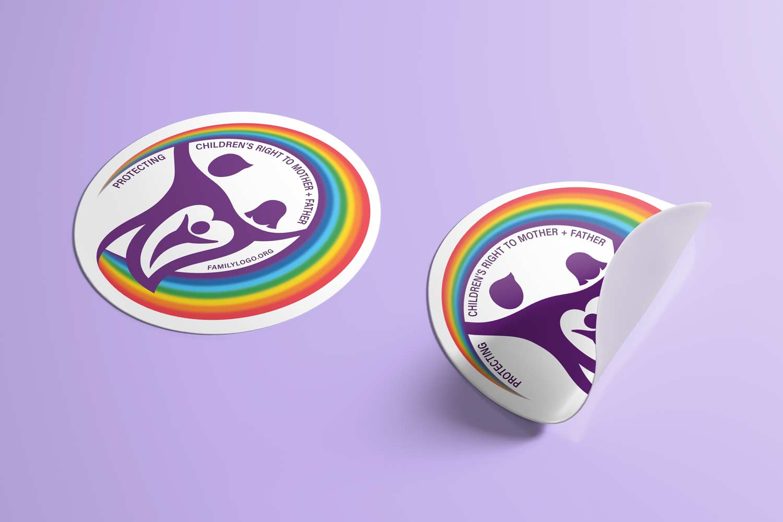 Family logo on round stickers.