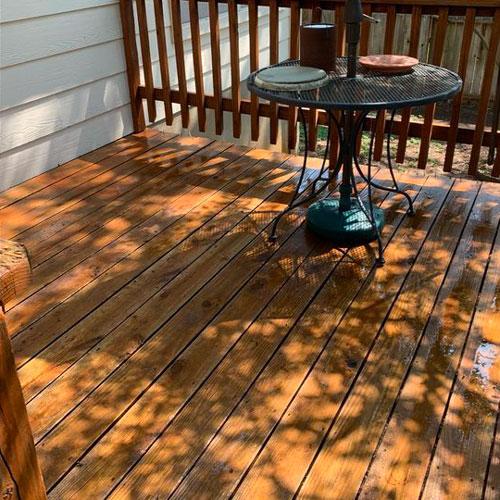 Clean deck after a soft wash.
