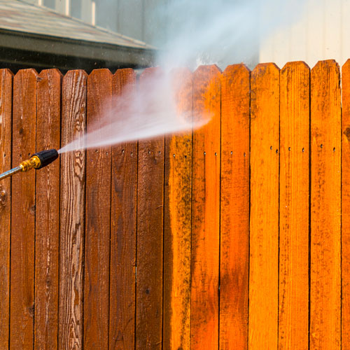 Cleaning of a residential fence in San Antonio.