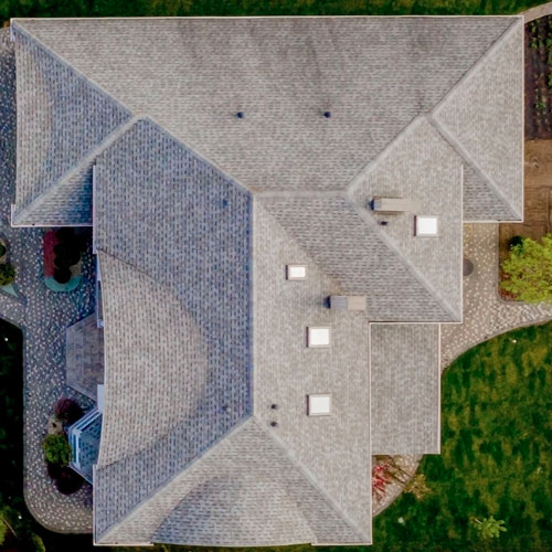 Arial view of a clean roof top in San Antonio.