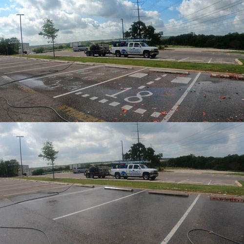 Removal of painting of a commercial parking lot in San Antonio.