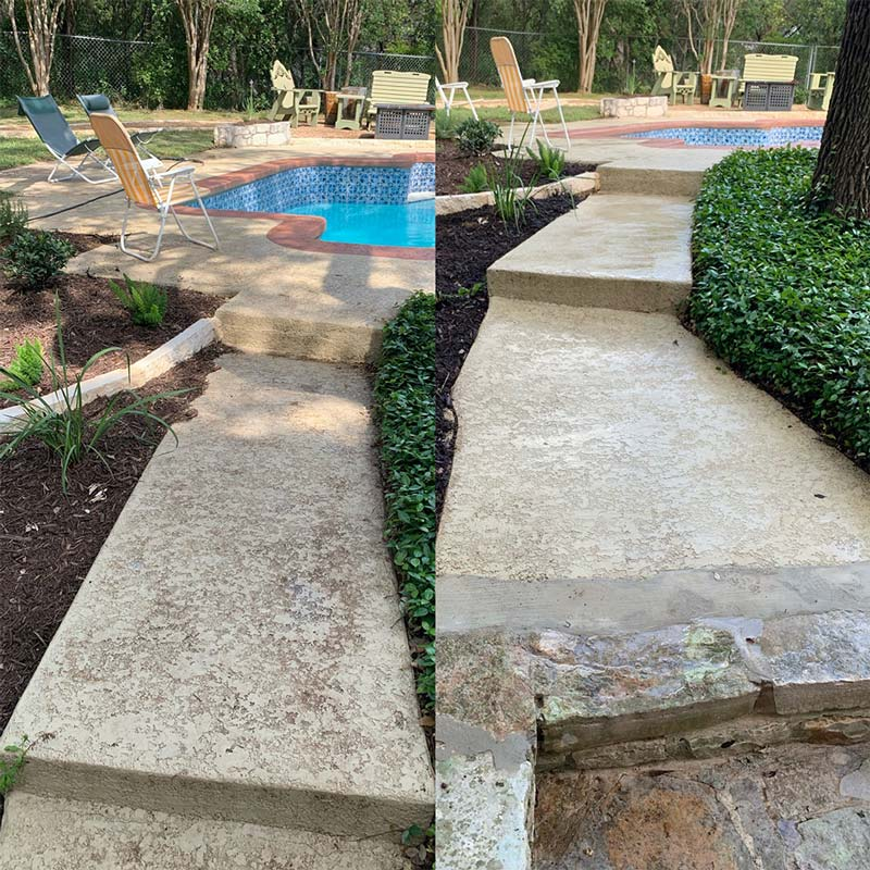 Pool deck cleaning before and after in San Antonio