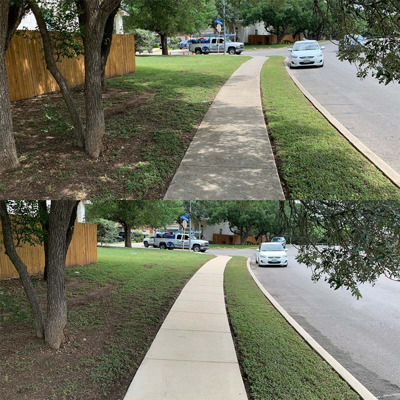 Sidewalk cleaning before and after in San Antonio, TX
