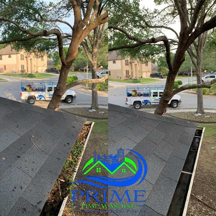 Gutter cleaning before and after in San Antonio