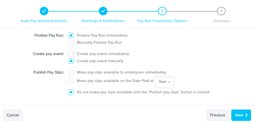 Finalise your automated pay run settings