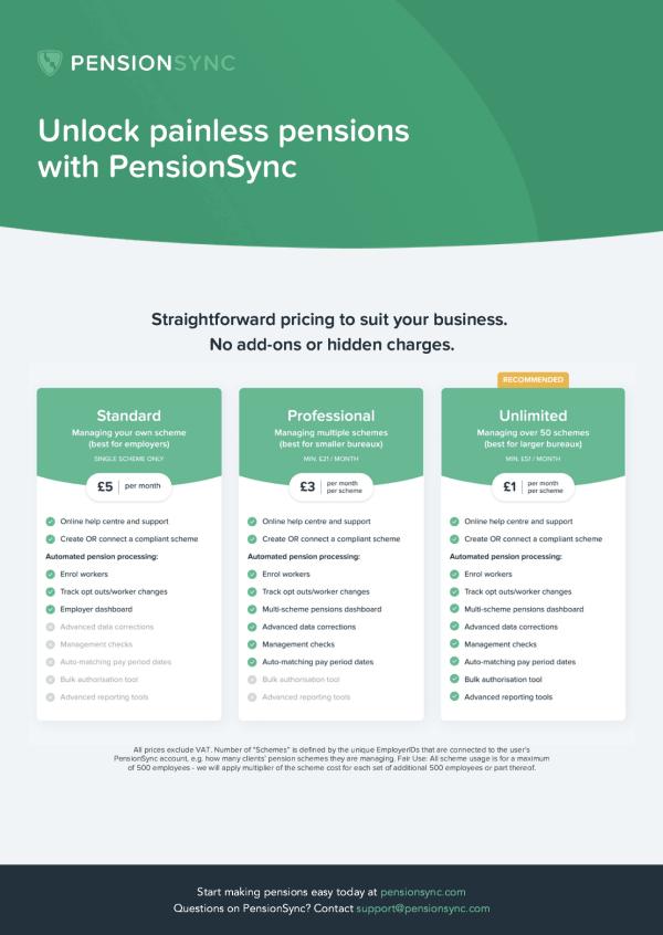PensionSync pricing brochure