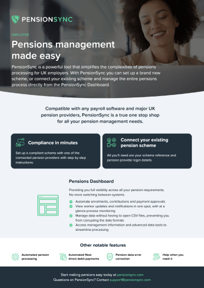 PensionSync employer 1 pager