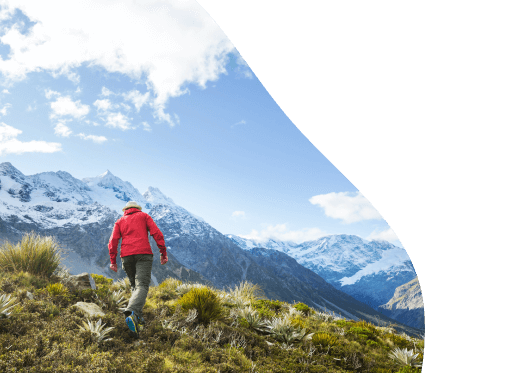Man hiking in New Zealand