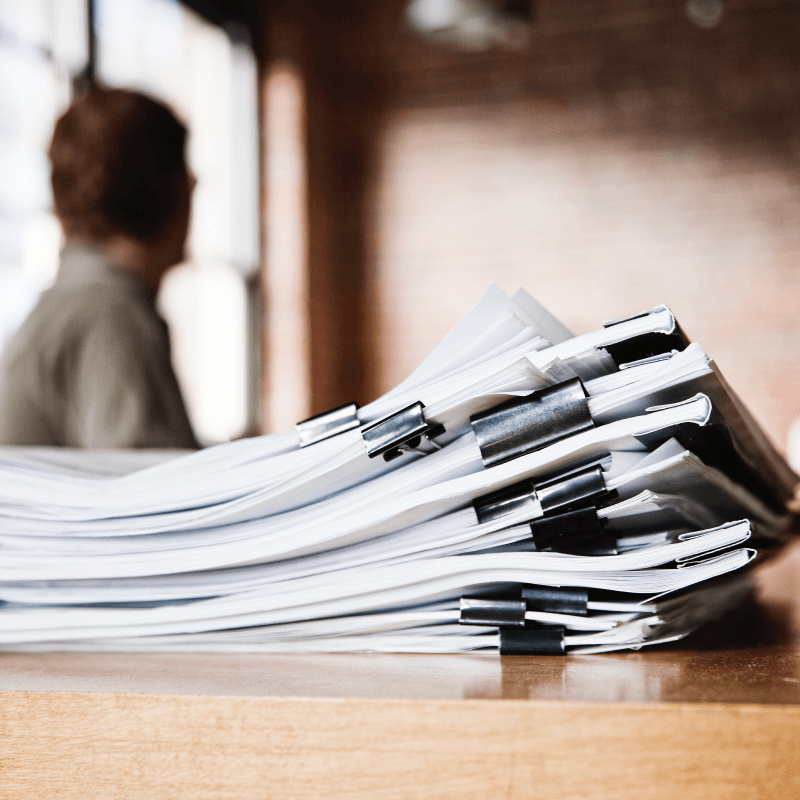 Stack of payroll documents