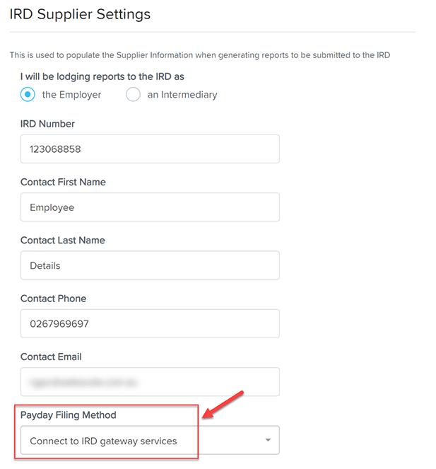 IRD supplier settings