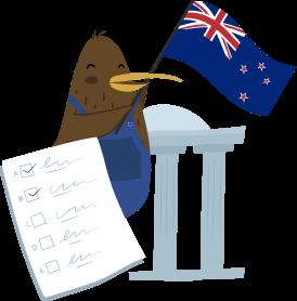 KeyPay NZ mascot Kiwi holding NZ flag with a compliance checklist