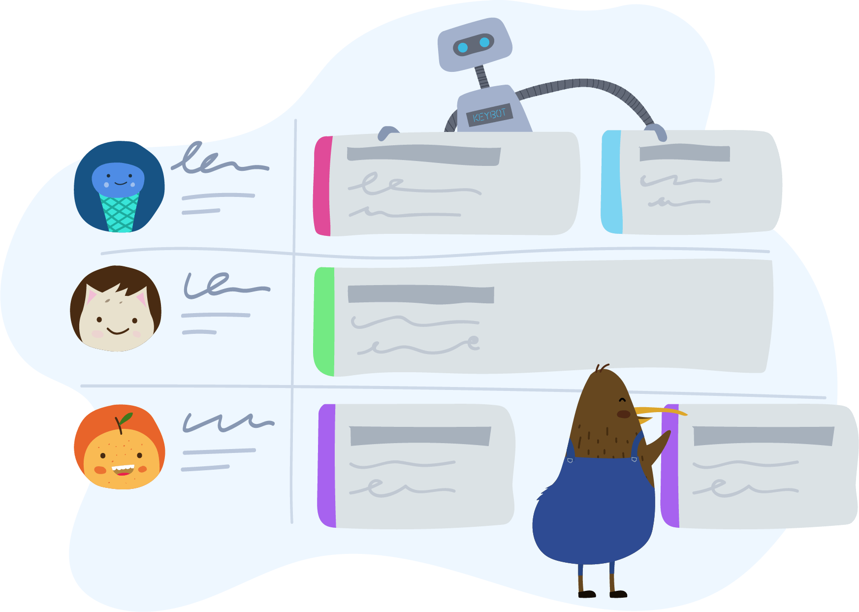 KeyPay rostering illustration with Kiwi, KeyBot and employees