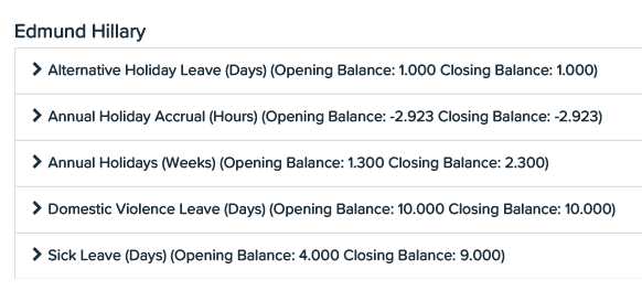 KeyPay NZ leave history report
