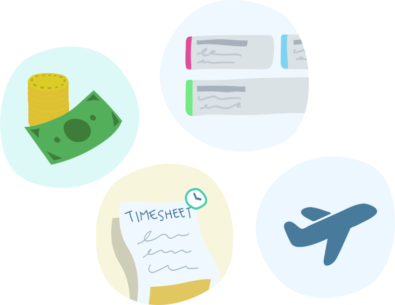 Timesheet, money, rostering and leave icons