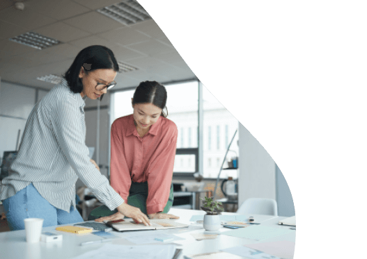 Young businesswomen working in team