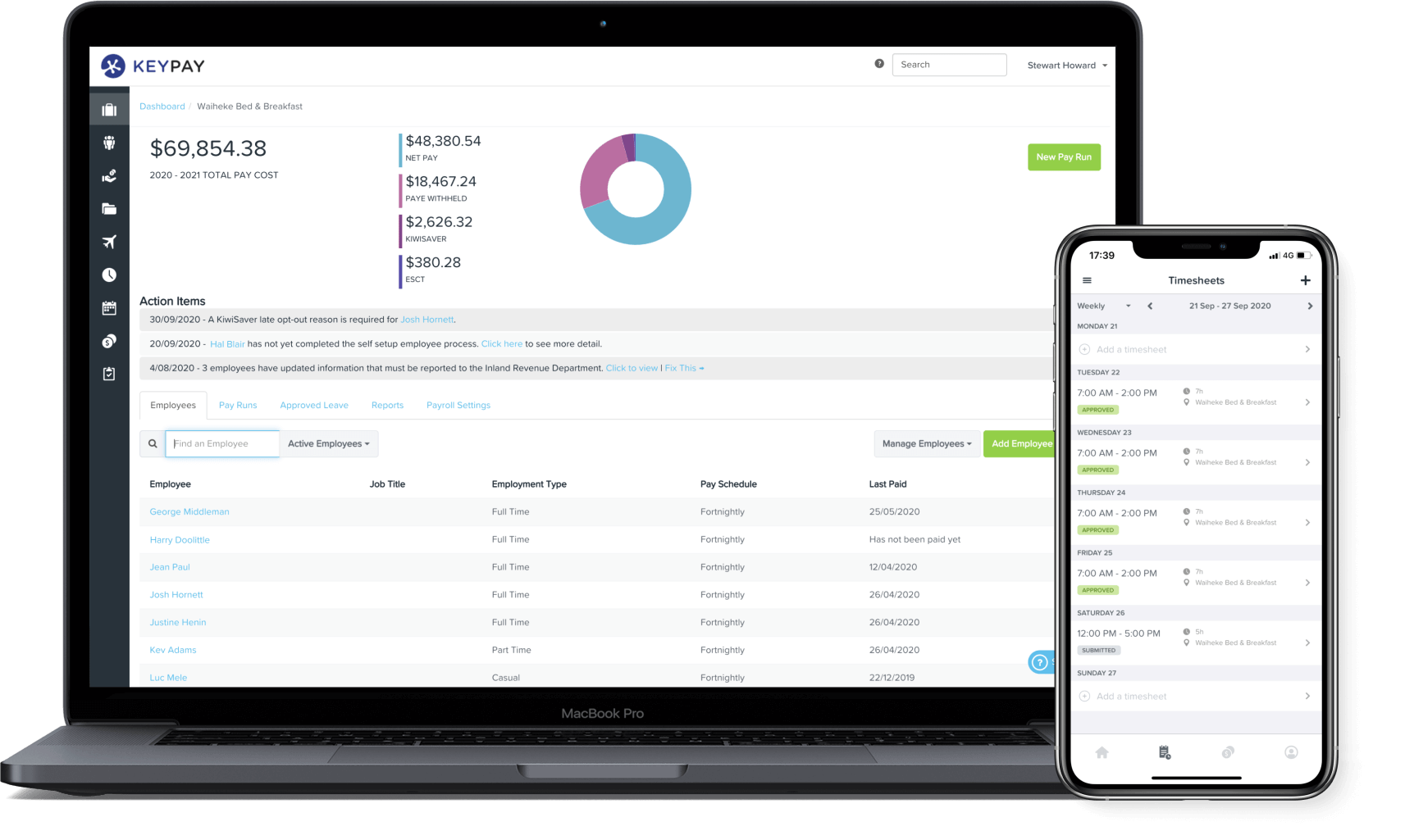 KeyPay NZ dashboard and mobile app