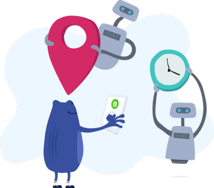 Bertie KeyBot holding location icon, clock and WorkZone phone