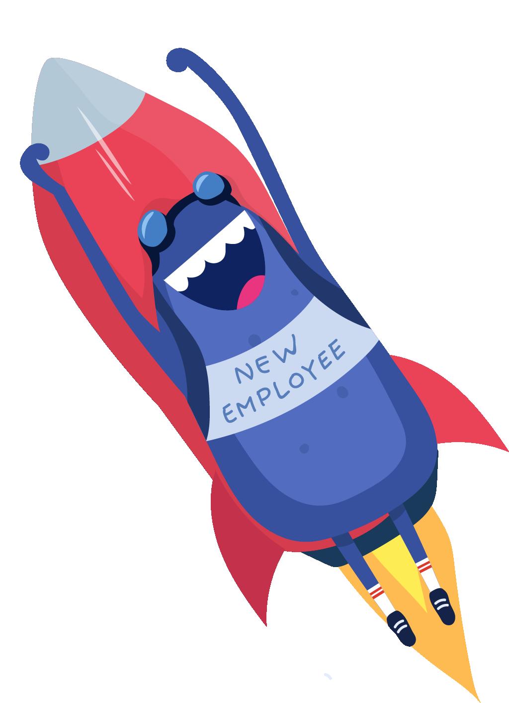 Bertie rocket wearing New Employee vest