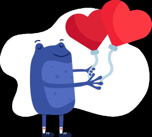 Bertie holding love heart balloons