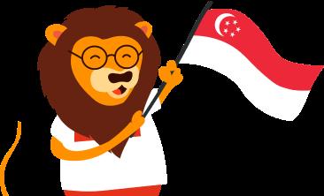 KeyPay Lion mascot with Singapore flag