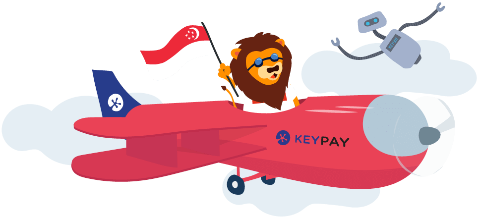 KeyPay Singapore's lion mascot with KeyBot