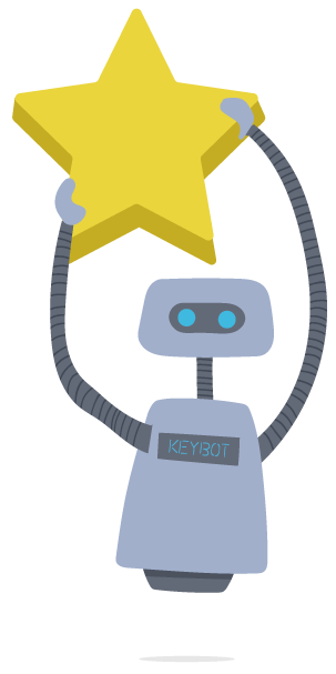 KeyBot holding up stars asking for reviews