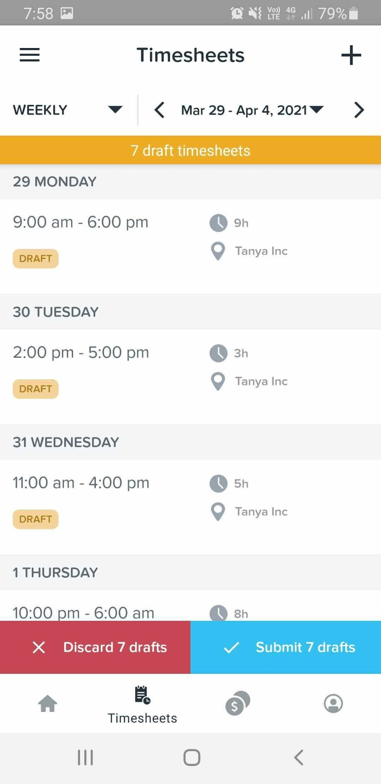 Screenshot of KeyPay's mobile app WorkZone displaying seven draft timesheets for employees to review.