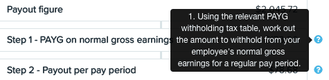 Improved transparency of PAYG calculations in a termination pay