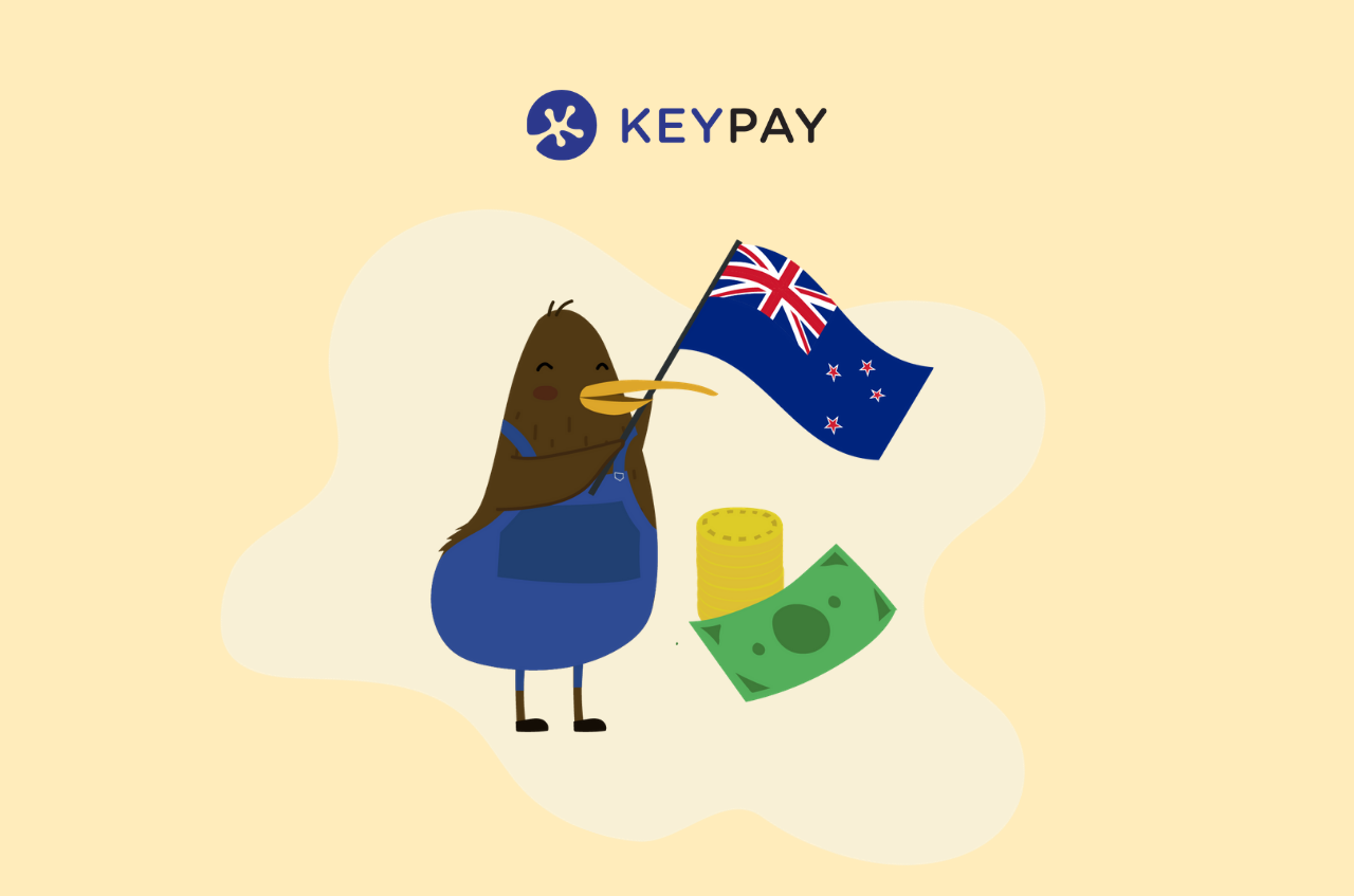 Illustration of a Kiwi bird holding a New Zealand flag alongside dollars and coins with the KeyPay logo. NZ businesses can now process Schedular Payments for contractors in KeyPay.