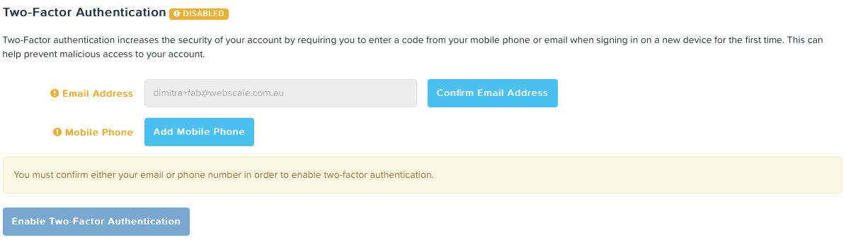 Two-Factor Authentication enabled in KeyPay