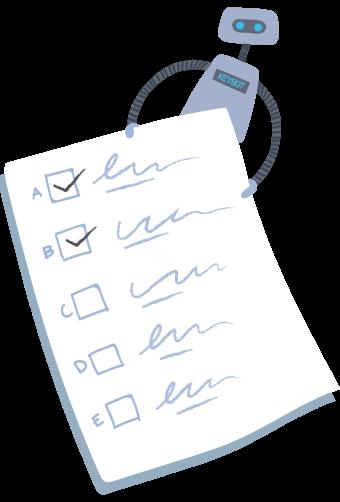KeyBot holding a checklist