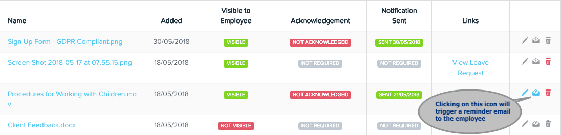 Employees can acknowledge documents in KeyPay