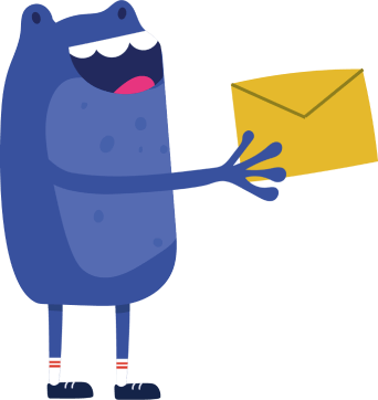 Bertie smiling holding mail