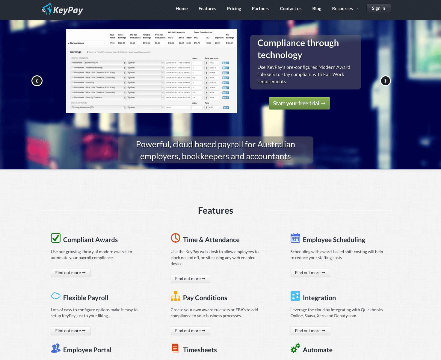 KeyPay old website