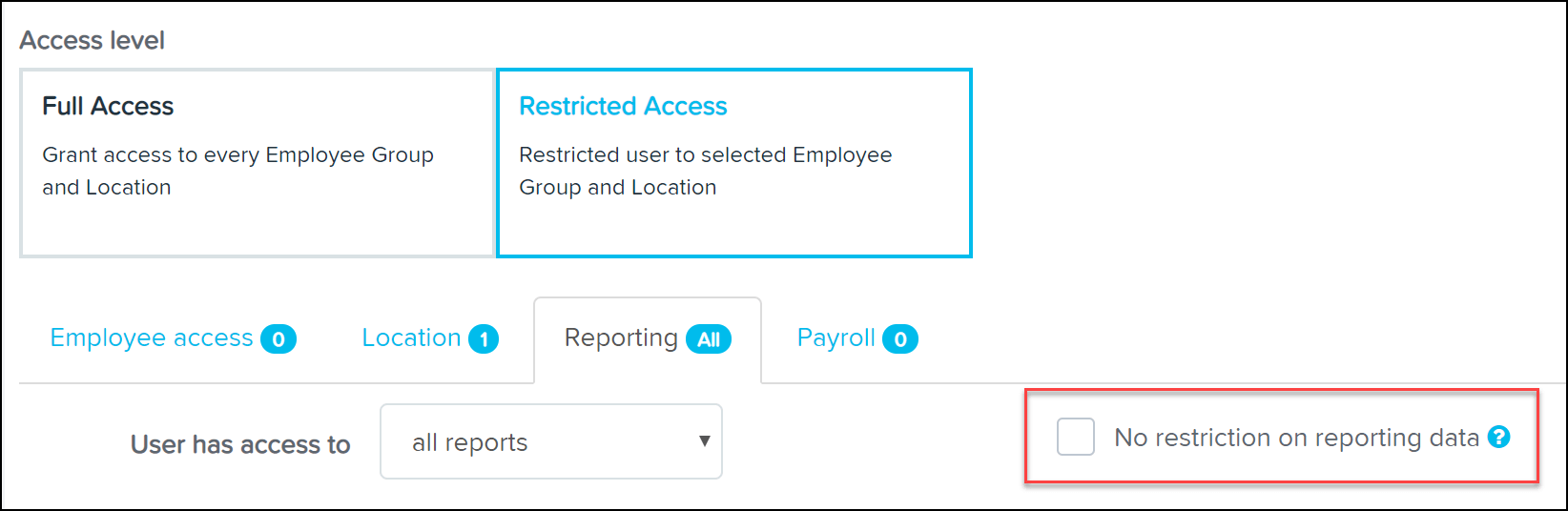 No restriction on reporting data