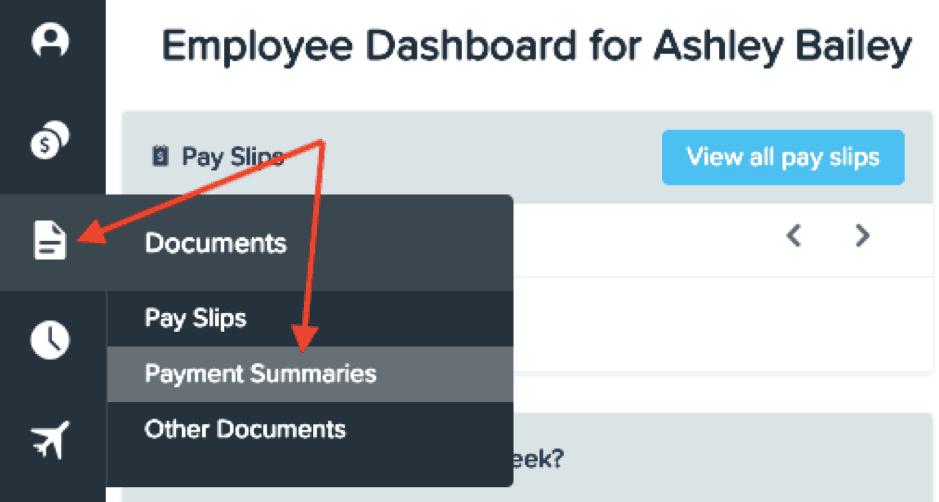 Employee dashboard payment summaries
