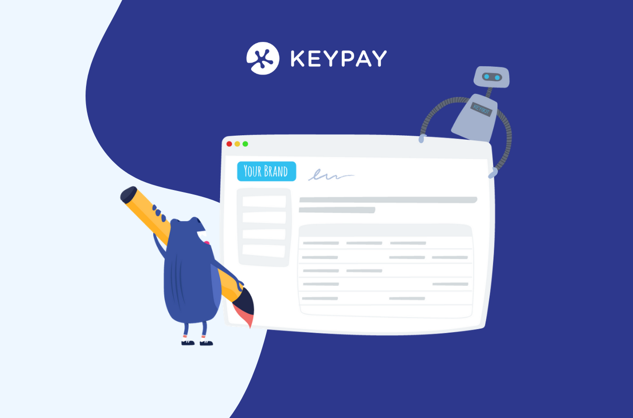 """Picture of Bertie holding a browser with KeyBot that indicates """"branded payroll"""". Branded Payroll Management in KeyPay's Partner Dashboard."""