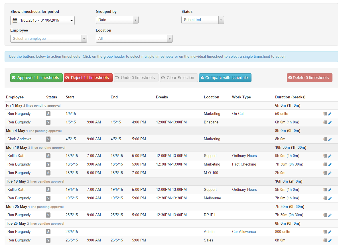 Give managers access to review timesheets