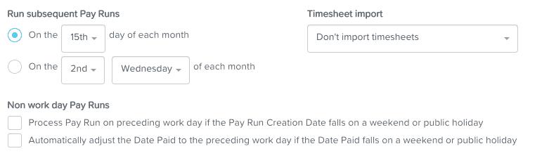 Set up automated pay run