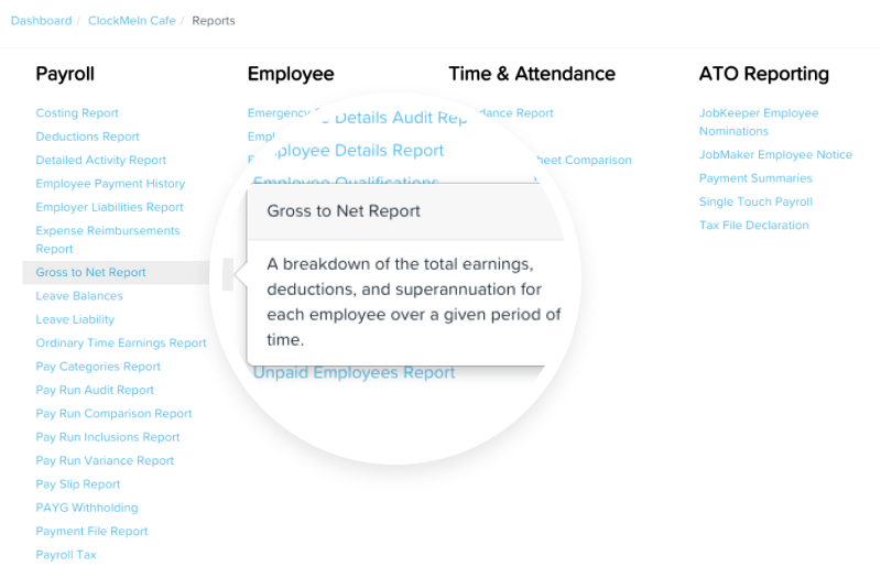 KeyPay's automated reporting including Gross to Net.