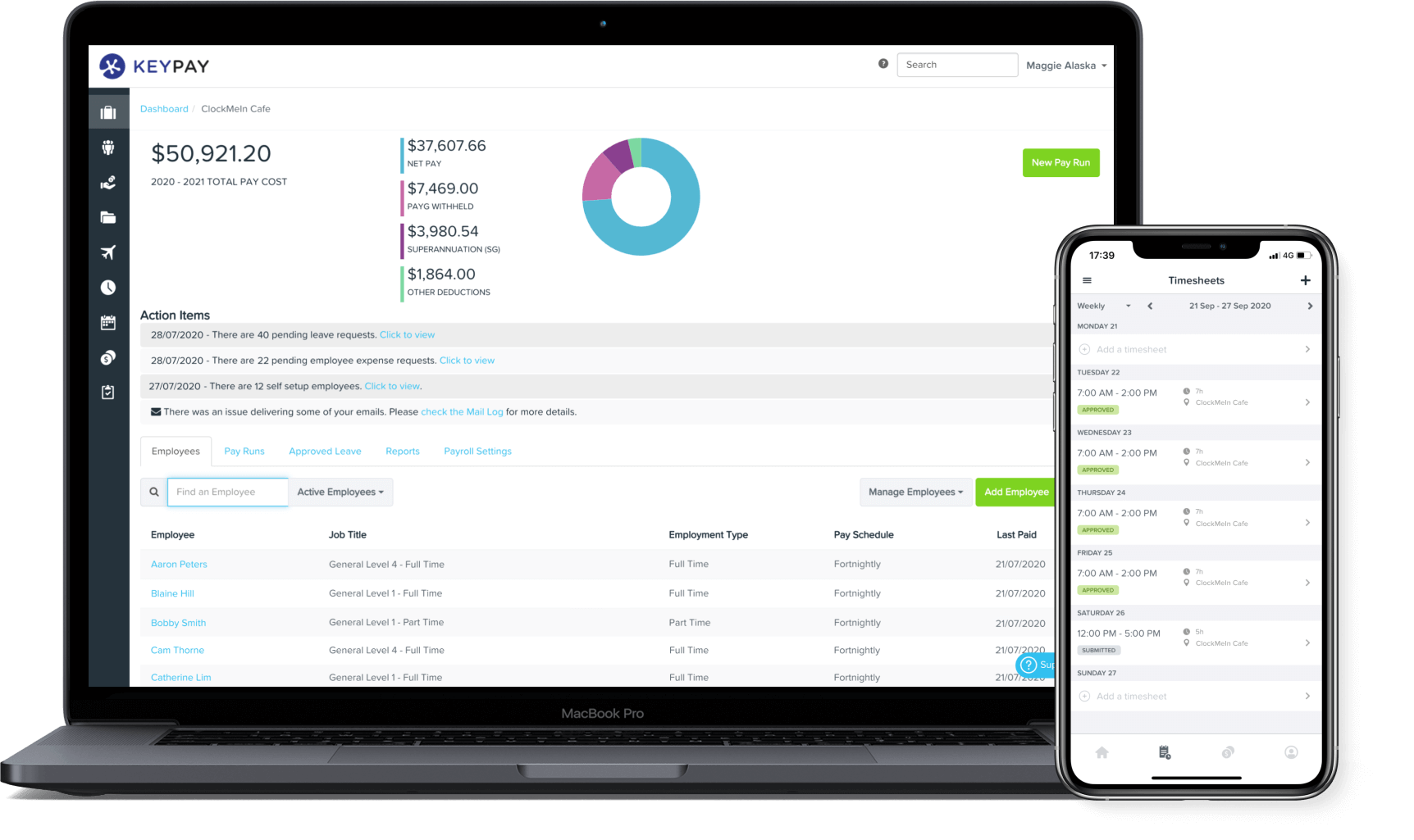 KeyPay's payroll, rostering and timesheet apps