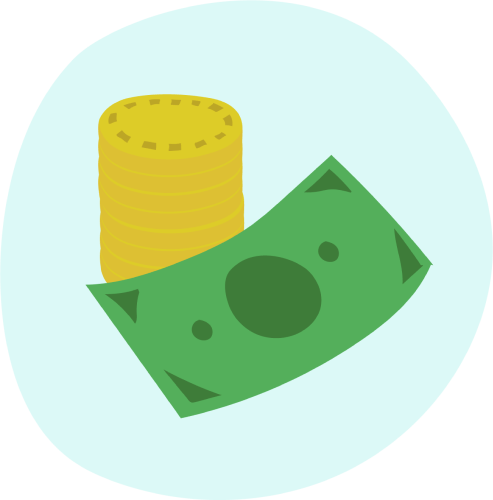 Coin and paper note icon