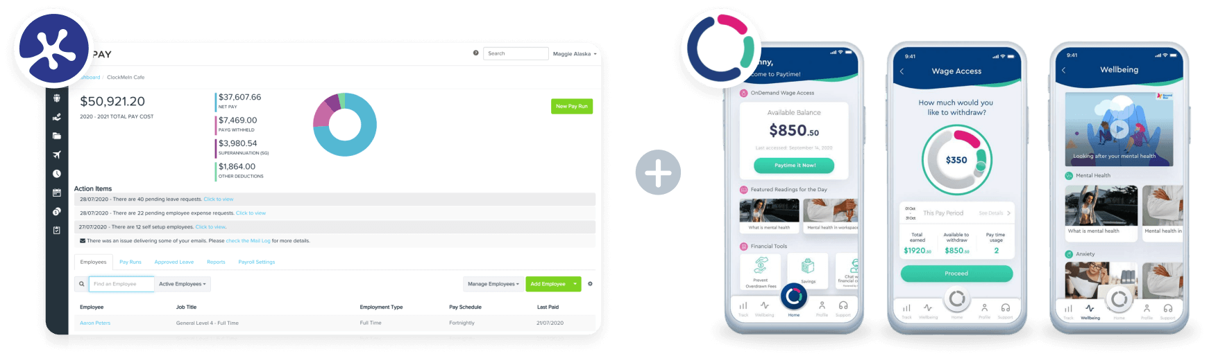 KeyPay and Paytime integration product shots