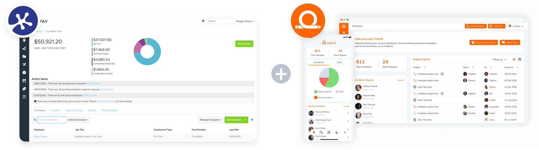 KeyPay and Note It dashboards