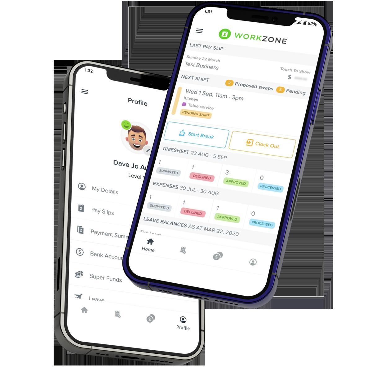 WorkZone screens on phone