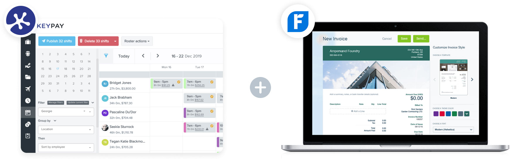 image of KeyPay and Freshbooks dashboards