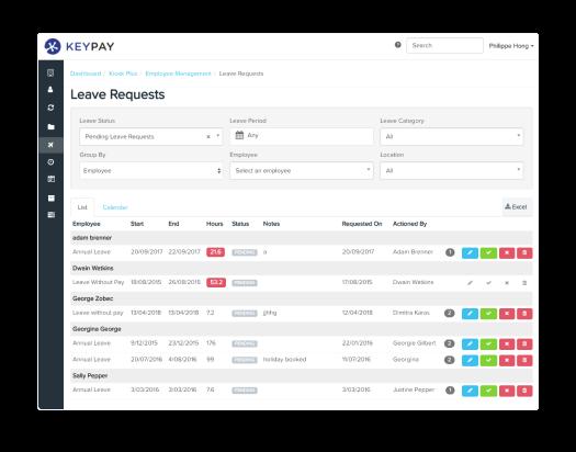 manage leave keypay