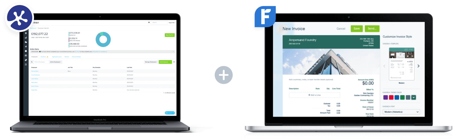 KeyPay and FreshBooks dashboards