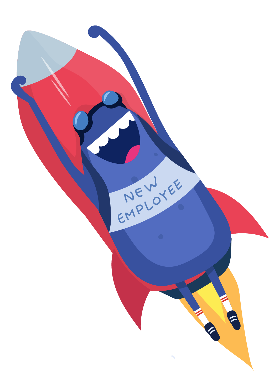 Bertie rocket wearing new employee sign
